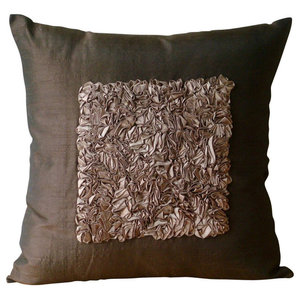 Vintage Chocolate Love, 40x40 Art Silk Brown Throw Cushion Covers