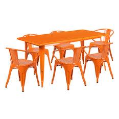 31.5''x63'' Rectangular Metal Indoor Table Set With 6 Arm Chairs Orange