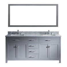 """Caroline 72"""" Double Vanity Gray With Marble Top and Square Sink With Mirror"""