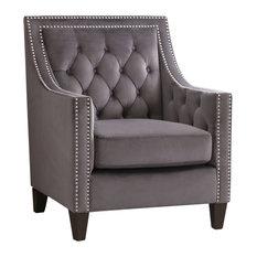 Savannah Nailhead Tufted Accent Chair Gray