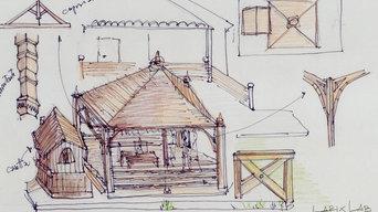 sketch per un gazebo con casetta in larice invecchiato