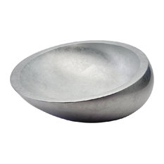 Vetro European Vessel Sink, Silver Leaf
