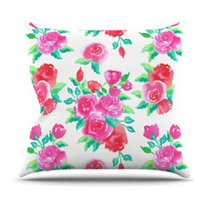 """Anneline Sophia """"Pink Roses"""" Magenta Floral Throw Pillow"""