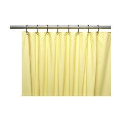 Premium 4 Ga Vinyl Shower Curtain Liner W Magnets And Metal Grommet In Yellow Grey