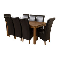French Chateau Oak Dining Table With 8 Montana Chairs, Black Leather