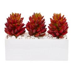 Triple Succulent Artificial Succulent in White Vase