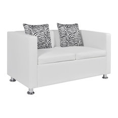VidaXL Sofa With 2 Pillows 2-Seater Artificial Leather White Living Room Home