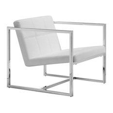 Modern Contemporary Living Room Chair, White Leatherette Chrome Steel