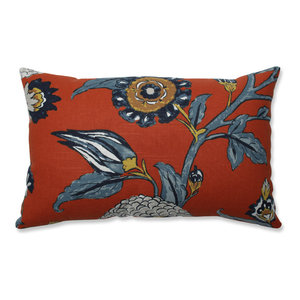 Pillow Perfect Indoor Auretta Persimmon Blue Rectangular Throw Pillow