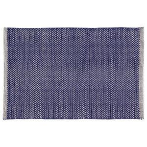 Handwoven Navy Field Cotton Rug, 60x90 Cm