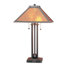 60W Table Lamp with Mica Shade, Matte Black Finish, Mica Shade