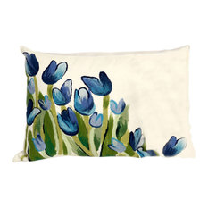 "Allover Tulips Blue Pillow - 12""X20"""