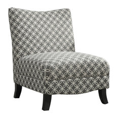 "Monarch - Traditional Style Black Beige ""Abstract"" Fabric Chair Home Furniture I8114, Gray - Armchairs and Accent Chairs"