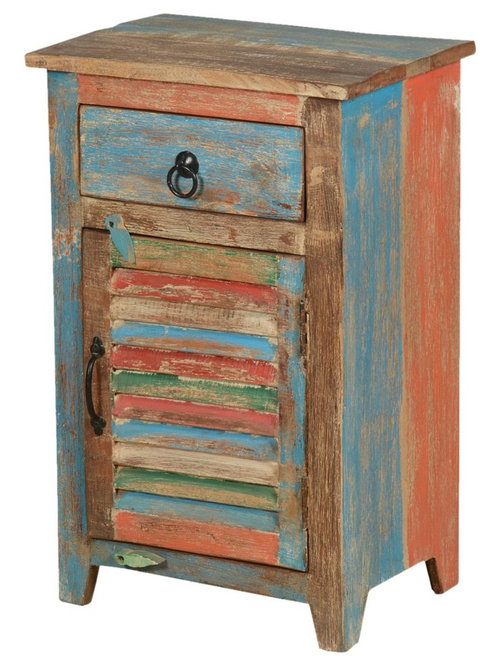 Country Washboard Door Reclaimed Wood Night Stand Mini Cabinet - Side Tables  And End Tables