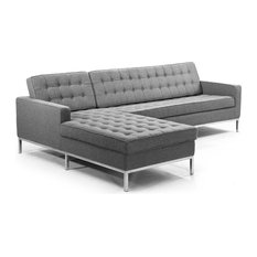 Midcentury Florence Sectional, Cadet Gray, Material: Wool, Left