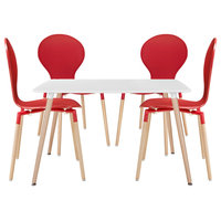 Red Path Dining Chairs and Table Set of 5