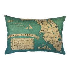 Florida Map Linen Pillow