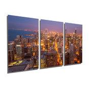 Chicago City Skyline, Metal Print Wall Art, 3 Panel Split, Triptych, 36x18