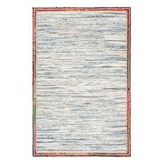 "Handwoven Braided Border Denim Rag Area Rug, Light Blue, 7'6""x9'6"""