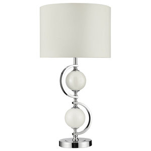 Modern Chrome Table Lamp, White Glass Balls and Drum Shade