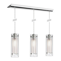 Willamette 3-Light Pendant, Oil Rubbed Bronze With Clear Frosted Glass