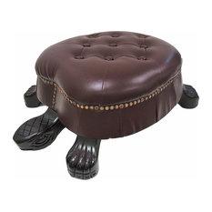 Elegant Wooden Walnut Finish Brown Turtle Animal Shaped Ottoman Foot Stool - Fa