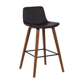Maddie Counterstool, Walnut Wood Finish & Brown Faux Leather, Barstool
