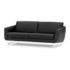 Modern Armondo Sofa in Black Microfiber and Genuine Leather