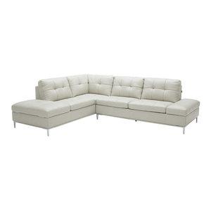 Leonardo Italian Leather Sectional Sofa in Light Grey, Left Hand Facing Chaise