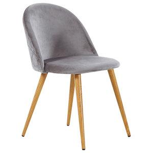 Lucia Velvet Chair, Grey