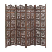 Traditional Flourished Wooden 4-Panel Screen