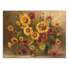 Tile Mural, Sunflower Bouquet by Barbara Mock