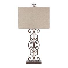 "Calidora Antique Copper Finish 34"" Metal Table Lamp"