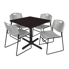 Cain 42-inch Square Breakroom Table- Mocha Walnut & 4 Zeng Stack Chairs- Grey