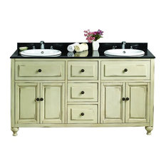 Lyon Antique White Double Vanity With Granite top and Sink