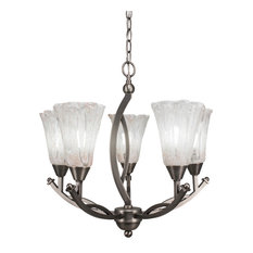 Bow 5-Light Chandelier Brushed Nickel Fluted Italian Ice