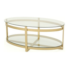 GDF Studio Bell Round Tempered Glass Coffee Table Brass Finish, Clear/Brass