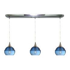 Lucent 3-Light Linear Pendant Form No. 302a, Blue Glass Shades