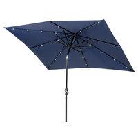 Sun-Ray 9'x7' Rectangular Aluminum Solar Umbrella, Navy