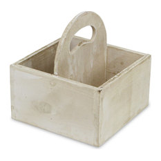 Square Wooden Caddy, Brown, White
