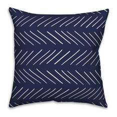 White and Navy Modern Chevron 16x16 Throw Pillow Cover