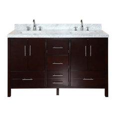 "California 60"" Bath Vanity, Chocolate, Carrara Marble, Double Vanity"