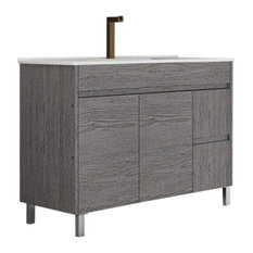TEGLER,SL - Callahan Ischia Bathroom Vanity Unit, Smoky Oak, 100 cm - Bathroom Vanity Units & Sink Cabinets