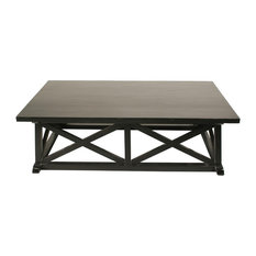 60-inch Rectangular Coffee Table Mahogany Wood Rubbed Black Finish Modern Design