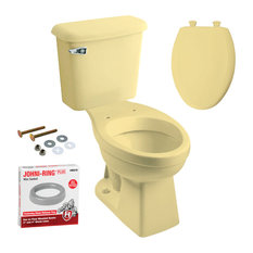 "Peerless Pottery - Peerless Pottery McKinley Toilet With Seat, Harvest Gold, 20.06""x29.88""x33"" - Toilets"