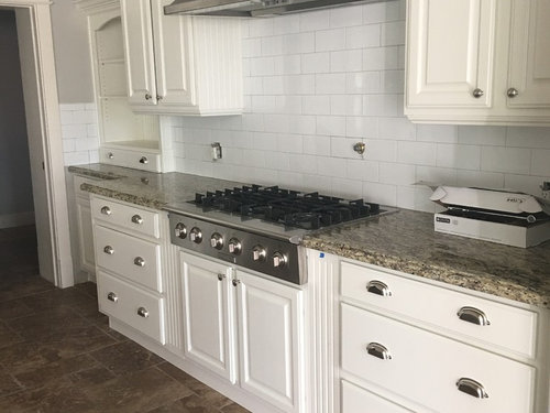 White Subway Tile With Dove Cabinets