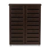 Adalwin and 2-Door Dark Brown Wooden Entryway Shoes Storage Cabinet