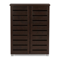 Baxton Studio - Adalwin and 2-Door Dark Brown Wooden Entryway Shoes Storage Cabinet - Shoe Storage