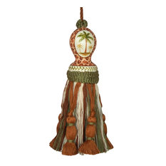 Tassel Palm Tree Pair Carved Wooden Head Polyrayon Wood Hand-Painted