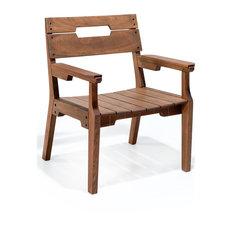 Otero Eucalyptus Wood Outdoor Dining Arm Chair